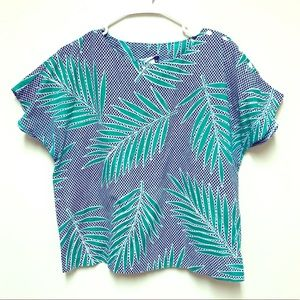 {Vintage} Blue Green Fern Leaf Pattern Top
